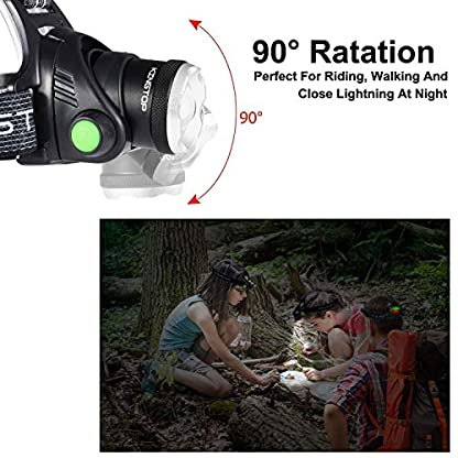 KINGTOP Waterproof USB Rechargeable LED Zoomable Head Light Torch Lamp with Internal Lithium Battery 5