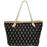CASPAR TS1022 große Canvas Damen Strandtasche/Shopper mit ANKER Print, Farbe:schwarz;Größe:One Size