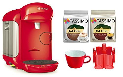 Bosch TASSIMO Vivy 2 Bundle + Spender + Kahla Tasse + 2x TDiscs Kapseln (Rot)
