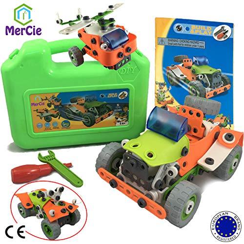 Blocchi di costruzione 5 in 1| 161 pezzi soffici per costruirti auto 4x4, aereo, elicottero, quad e robot| giocattolo di ingegneria per bambini 5 6 7 8 9 10+ anni | ottimo regalo per ragazzi e ragazze