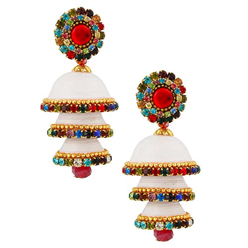 Halowishes Handcrafted White Paper Quilling Triple Jhumka Earrings for Women  available at amazon for Rs.309