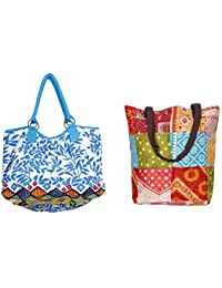 Indiweaves Combo Pack Of 1 Cotton Kantha Tote Bag And 1 Cotton Shopper Bag (Pack Of 2) 8201482100-139-IW-P2