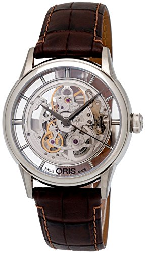 Oris Artelier Translucent Skeleton Automatic Stainless Steel Mens Strap Watch 734-7684-4051-LS