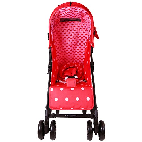 Zeta Vooom Stroller Complete with Foot Muff/Raincover/Changing Bag and Head Hugger Bow Dots Design