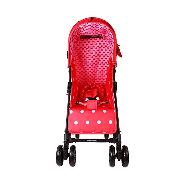 Zeta Vooom Stroller Complete with Foot Muff/Raincover/Changing Bag and Head Hugger Bow Dots Design ZETA Suitable From Birth Unique drop down privacy hood with parent window Complete with raincover and matching footmuff 4