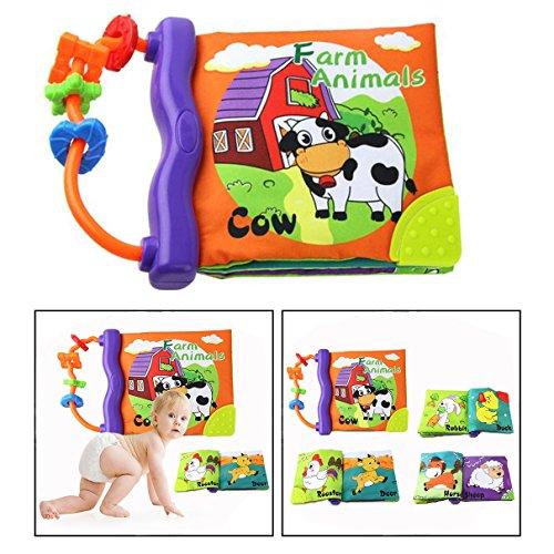 OFKPO Baby Weichen Tuch Erkenntnis Buch Lernen,Baby's First Tuch Buch Spielzeug mit Beißring(Tier)