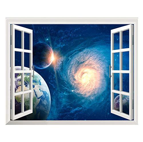 zoomingmingli Neue 3D Blau Universum Galaxy Planet Wandtattoos Für Kinderzimmer Schlafzimmer Wohnzimmer Dekorative Aufkleber PVC Wandaufkleber