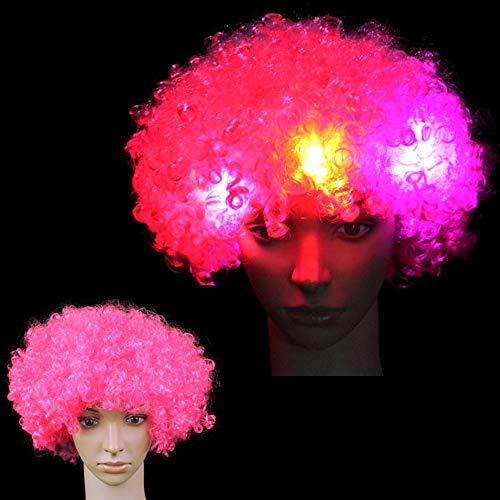 Peluca con luces LED de colores arcoíris, peluca rizada con luz que brilla en la oscuridad