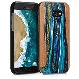kwmobile Funda para Samsung Galaxy A5 (2017) - Carcasa de [Madera] - Case Trasero Protector [Duro] con diseño de Ondas