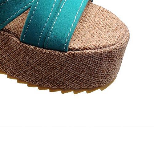 VogueZone009 Donna Punta Aperta Fibbia Pelle Di Mucca Puro Tacco Medio Sandali Verde