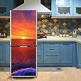 HHYS DIY Kühlschrank-Aufkleber Selbstklebend Wasserdicht Strand Sonnenuntergang Rot Wandgemälde,60X150cm(23.6''X59'')