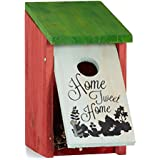 Relaxdays Nichoir à oiseaux HOME SWEET HOME pour petits oiseaux bois porte HxlxP 21,5 x 12 x 15,2 cm à suspendre, vert rouge