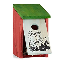 Relaxdays Nido artificiale uccellini HOME TWEET HOME legno, da appendere decorativo HLP: 21,5 x 12 x 15,2 cm rosso verde