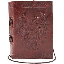 Chic & Zen–Cuaderno/bloque Note/diario, piel auténtica, Vintage, Double Dragon, 9cm x 13cm