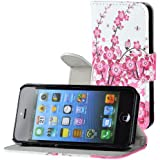 Iphone 5/5S Buchdesigner Tasche mit trendigen Style Pink Cheery Flower Cover Leder Tasche Flip Case Schutz Hülle Handy Seiten Tasche im Neuem Desgin inkl. 1x Anti Klar Folie vorn.& hinten