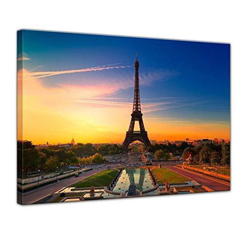 Kunstdruck - Paris II - Bild auf Leinwand - 70 x 50 cm - Leinwandbilder - Bilder als Leinwanddruck - Wandbild von Bilderdepot24 - Städte & Kulturen - Europa - Frankreich - Eiffelturm am Abend