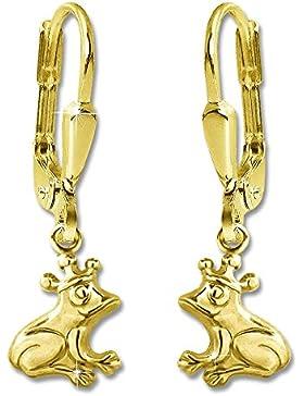 CLEVER SCHMUCK Goldene Ohrhänger 25 mm kleiner Frosch mit Krone 8 mm glänzend 333 GOLD 8 KARAT im Etui