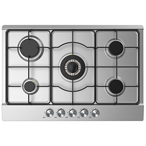 cookology-gh750ss-kitchen-hob-75cm-built-in-5-burner-gas-hob-in-stainless-steel-with-enamelled-pan-s