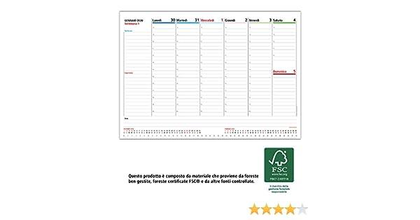 Weekly Planner Incollato IN ALTO prodotto certificato FSC/® SETTIMANE E MESI Planner settimanale da scrivania 2020 CON GIORNI STAMPATI