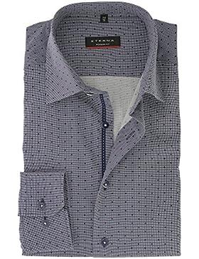 ETERNA Herren Langarm Hemd aus 100% Baumwolle Modern Fit mit Kent Kragen Blau kariert Punkte