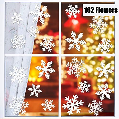 KATELUO 162 Vetrofanie Fiocchi di Neve per Natale Fiocco di Neve Stickers da Vetro Finestra Vetrina Natale Decorazione Adesivi Statici PVC Natalizie