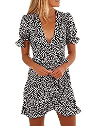 NINGSUN Elegante Donne Stampato floreale Manica corta V-Collo Vestito  estivo Beach Ruffled Skirt Abito Gonne Vestito Da Festa Casual… 0730a9aac71
