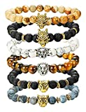 Milacolato 6 PCS Bracelets De Perles Hommes Ensemble Dragon/Lion / Panthère Charme Lava Rock Pierre Naturelle Brassard, 8MM