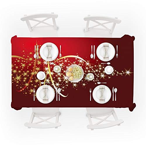 (Zhen+ Tischdecke Weihnachten Tischtuch Tischläufer Rechteck Abwaschbar Tischtuch mit Weihnachten Druck, Pflegeleicht Waschbar Anti-Fleck/Asche/Milch/Saft 5 Größe für Küche Esszimmer Camping)