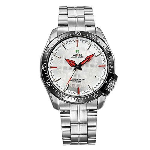 uomo-vestito-orologio-dargento-metallo-bracciale-bianco-quadrante-rosso-mani-wh-103