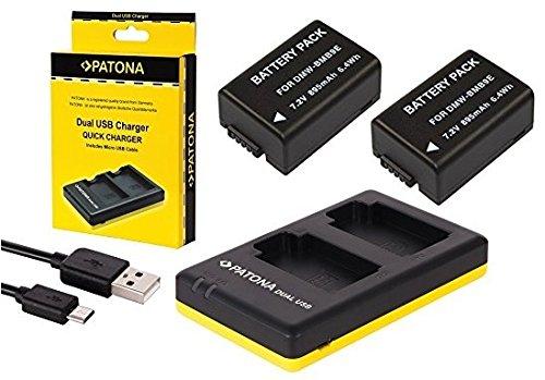 3in1-SET für die Panasonic Lumix FZ82/DC-FZ82 | 2 Akkus für Panasonic DMW-BMB9 + Ladegerät Micro-USB (Laden Sie bis zu 2 Akkus auf einmal) (Akku Für Panasonic Lumix)