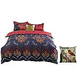 Set di biancheria da letto, stile boemo, 4 pezzi, inclusi1copripiumino, 1 lenzuolo e 2 federe per cuscino., Poliestere, design 11, 220 x 240 cm