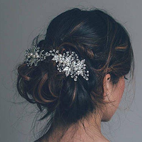 Aukmla Braut-Haarschmuck Set, Hochzeits-Haarspangen, Blätter und Strass-Steine, Haarspangen für Frauen und Mädchen (2er Set)