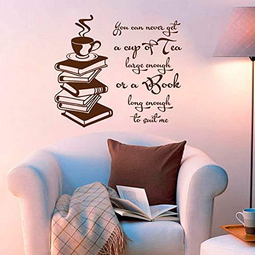 Wandtattoo Inspirierende Zitate Tasse Tee Große Genug Buch Lange Genug Buch Lesen Vinyl Aufkleber Studie Wandmalereien Wohnkultur 57 * 64 cm