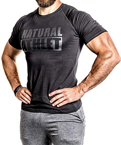 Flavio Simonetti Natural Athlet T-Shirt Herren Männer Kurzarm Shirt Optimal für Fitnessstudio, Gym & Training - Passform Slim-Fit, Rundhals & Tailliert - Farbe Schwarz, Schwarz/Schwarz, M
