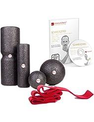 """Liebscher & Bracht """"Schmerzfrei Kombi-Set"""": 4er Faszienrollen-Set + DVD mit allen 27 Faszien-Übungen + Trainings-Schlaufe / für Engpassdehnung & Faszientraining & Schmerztherapie"""