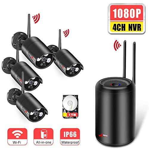 WLAN Überwachungskamera Set Drahtlose 4ch 1080p Überwachungskamera Außen WLAN mit 2.0MP Funk IP Kameras Außen Automatische Verbindung Remote APP 1TB Festplatte ANRAN