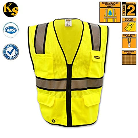 KwikSafety Hi Vis Yellow Ultra Cool Safety Vest | Heavy Duty Reflective Hi Viz Mesh Zip Up Waistcoat | Men Women Security Motorcycle Police Fishing Cycling Construction Tactical Work Wear |