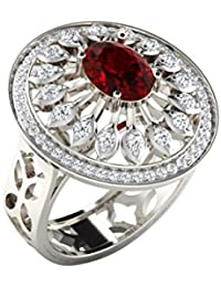 Silvernshine 1/2Ct Round Cut Ruby & Sim Diamond Fashion Engagement Ring In 14KT White Gold PL