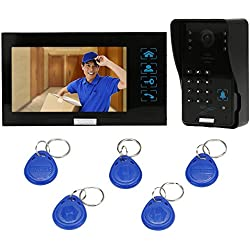 KKmoon Vidéo Phone Intercom Sonnette Visuel de Porte avec 1pcs 1000TVL CCTV Caméra extérieure de sécurité + 1pcs 7inch Moniteur intérieur pour Maison Surveillance TP02S-11