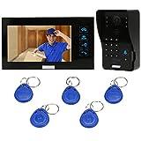 KKmoon Sonnette Vidéo,Visiophone intercom avec 1pcs 1000TVL CCTV Caméra extérieure de sécurité et 1pcs 7inch Moniteur intérieur pour Maison Surveillance