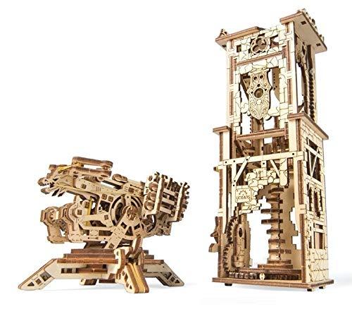 Ugears balista e torre in legno - modelli militari medievali da costruire - puzzle in 3d da montare