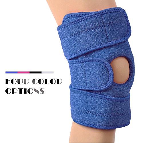 Das Leben atmungsaktiv Neopren Kniebandage Kniebandage mit offener Kniescheibe und Displayschutzfolie Wrap Blau blau (Mesh-kniebandage)