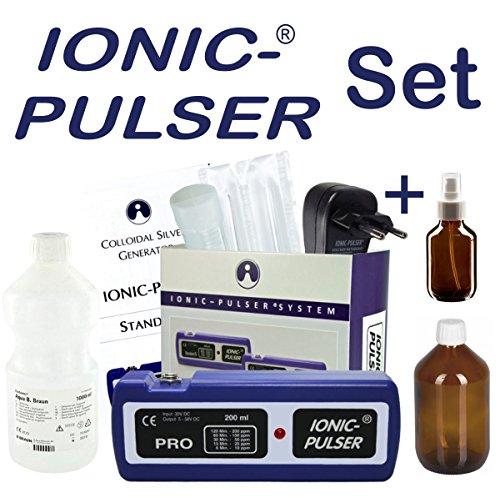 Ionic-Pulser® PRO Silber-Generator + Wasser + Medizinflasche und Sprühflasche