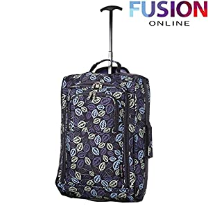 Wheeled Ryanair Cabin Approved Flight Hand Luggage Travel Trolley Suitcase Bag Navy Leaves