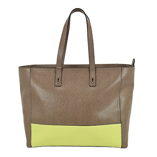 Borsa Shopping Coccinelle in pelle saffiano inserto bicolore Taupe / Lime Comprar Barato Tarifa De Envío Bajo A8gjSPqJc