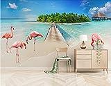 Fototapete Vlies Tapete 3D wallpaper Wanddeko Design Moderne Anpassbare Wandbilder Moderne Einfach High Definition Blick Aufs Meer Strand Kulisse Flamingos Tv Hintergrund Mauer