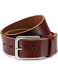 "Leather belt, buffalo leather, brown, width: 1.5"" (3,8 cm) unisex easy shortened"