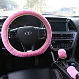 HLZDH Winter Warm Fashion Steering Wheel Faux Wool Handbrake Cover Gear Shift Cover Steering Wheel Cover Diameter 36 cm-40 cm 1 Set 3 Pcs (Pink)