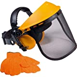 Advanced royobi ProGrade rga006Gras & Heckenschere Sicherheit Visier mit Gehörschutz, Visier & rutschfeste Handschuhe (1Paar)–-