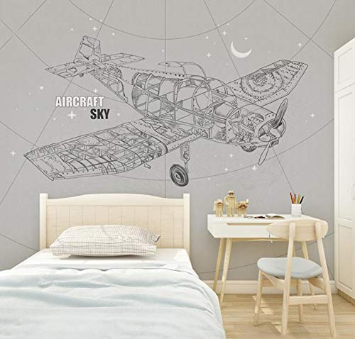 3D Vliestapete Fototapete Nordic Creative Aircraft Wallpaper Children'S Room Wallpaper Boy Warm Bedroom Background Wall Painting Seamless Green Wall Covering, 430 * 300